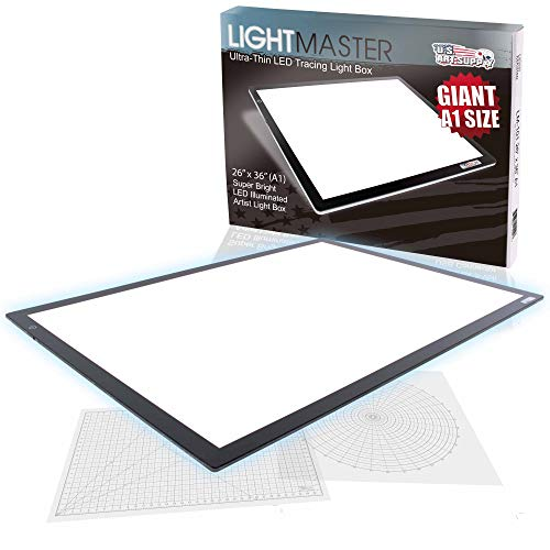 "US Art Supply Lightmaster Giant 45-1/4"" Diagonal (A1) 26 3/4"" x 36 3/4"" LED Lightbox Board- 12-Volt Super-Bright Ultra-Thin 3/8"" Profile Light Box Pad with 110V AC Power Adapter & Dimmable LED Lamps"