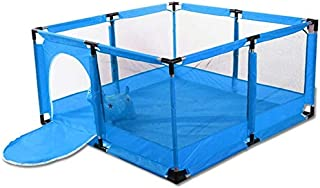 Playpens Baby Safety Play Yard Indoors Outdoors  Fence Kids Activity Center with Door  Portable Assembled  Blue  color Without Basketball Hoop
