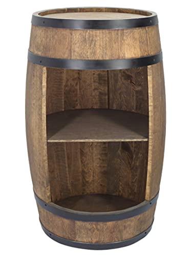 Barril de madera para casa – Armario para vino en estilo retro – Barril de vino – Estante de madera – Barra de madera – 80 cm de altura – Muebles elegantes – Mesa alta y soporte para botellas (wengue)