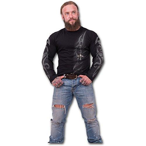 Chaîne tribal, crâne fantaisie métal gothique top noir manches longues hommes - XL - Spiral