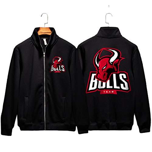 Jordan Rote Sweatjacke für Herren, Chicago Bulls 23# lange Ärmel, modisches Sweatshirt, feuchtigkeitsabsorbierend, schweißableitend, leicht (S-2XL) Gr. XL, Schwarz
