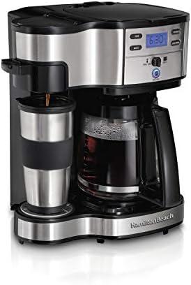 Cafetera de acero inoxidable 49980Z de Hamilton Beach, dos modos de servir: por taza y en jarra con capacidad para 12 tazas., Negro