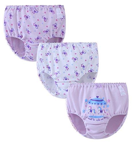 ABClothing ABClothing Teen Girls Unterwäsche Baumwolle 3er Pack für Kleinkind 11-12 Jahre lila Pferd 12t