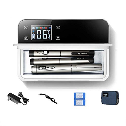 WCY Mini Kühlschrank Medizin Tragbares Insulin-Kühlvorrichtung Auto Kühlschrank USB Reise Haus Camping Büro Kühl Box 210 * 140 * 55mm Lade yqaae (Size : 20400mA Battery)