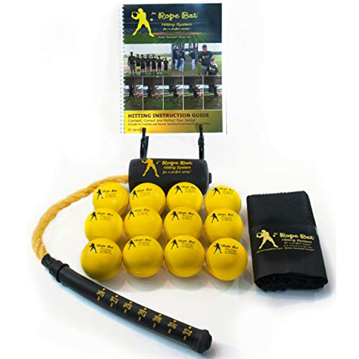 Rope Bat - Ultimate Rope Bat Hitting System Combo w/ 12 Smushballs - Baseball & Softball Swing Trainer, Training Tool, Batting Aid