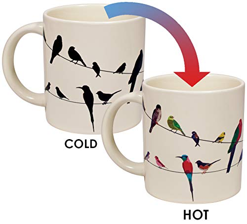 Birds on a Wire Heat Changing Mug - Add Coffee or Tea and Colorful Birds Appear - Comes in a Fun Gift Box
