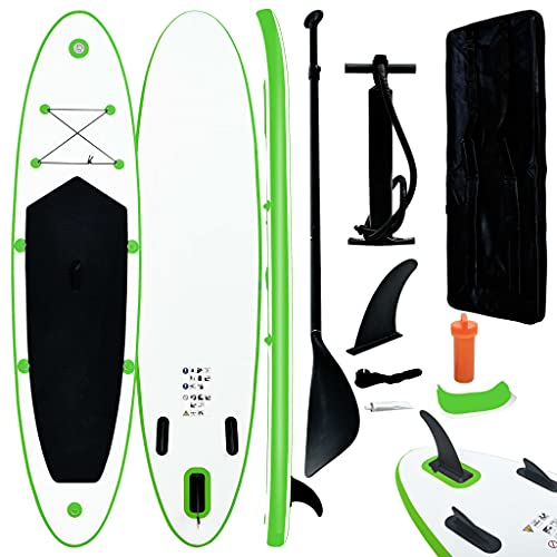 vidaXL Inflatable Stand Up Paddleboard Set Outdoor Recreation Sporting Good Boating Water Sport Surfing SUP Board Set Kayak Green and White