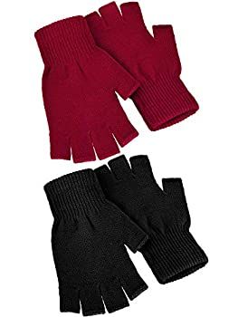 Satinior 2 Pair Unisex Half Finger Gloves Winter Stretchy Knit Fingerless Gloves in Common Size  Red and Black