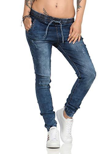 Fashion4Young 10243 Damen Jeans Hose Boyfriend Haremsjeans Haremsstyle Röhre Damenjeans Pants (L=40, Dunkelblau)