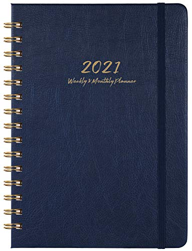 2021 Planner - Weekly, Monthly and Yearly Planner with Monthly Tabs, 6.3' x 8.4', January 2021 - December 2021, Thick Paper, Inner Pocket, Blue