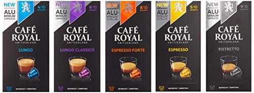 Café Royal Probierbox Classic - 50 Nespresso* kompatible Kapseln aus Aluminium, 5 Sorten - Espresso, Espresso Forte, Lungo, Lungo Classico, Ristretto (5 x 10 Aluminium Kapseln)
