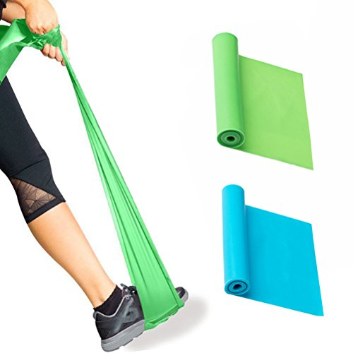 Lattice Naturale Elastici Esercizio Cinghie, DD Yoga Terapia Fisica Stretch Fitness Allenamento della Forza Nessuna Resistenza Cinghie (Blu&Verde)