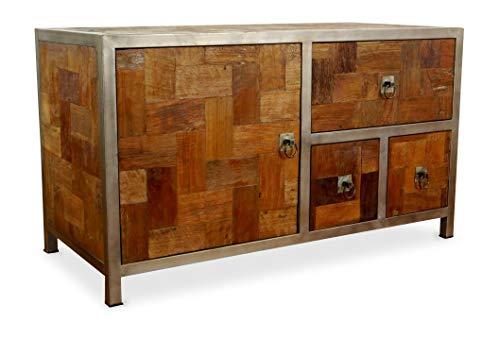 livasia Java Sideboard aus Metall und Teakholz | Kommode im Industrial Design | Asiatische Möbel der Marke Asia Wohnstudio | Asia TV-Bank | Teakholz Sideboard (Handarbeit)