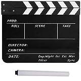 Bewinner Acrílico Director Escena Clapboard Director's Film Clapboard TV Película Tablero de acción Corte de película Prop con bolígrafo, Easy Wipe Cut Tablero de Escena de acción(Blanco Negro)
