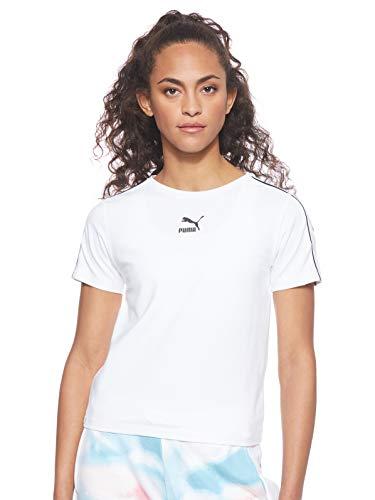 PUMA Classics Tight Top Camiseta, Mujer, White, S