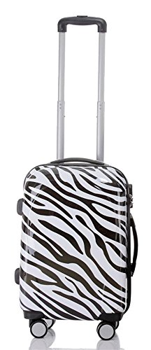 Reise Koffer Trolley mit Polycarbonat ABS Hartschale und Motiv BB (2: 45 Liter - Gr. M, Zebra)