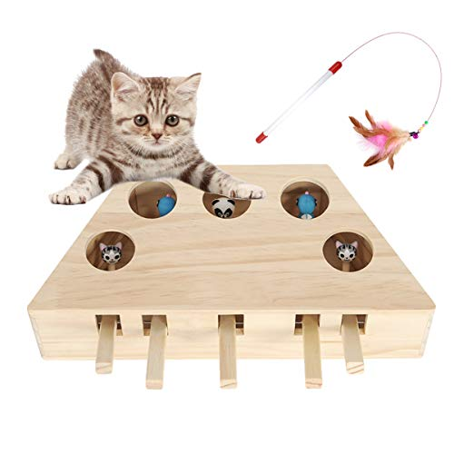 GABraden Interactive Cat Hunt Mouse Toys, 5 Holes Wooden Solid Whack a Mole Game Funny Kitten Puzzle Toy