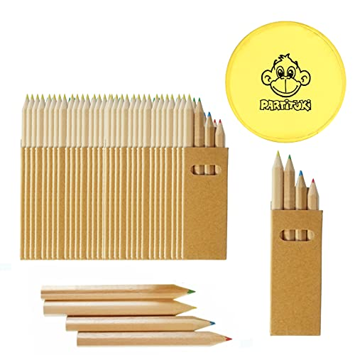 Partituki 50 Sets di Matite Colorate per Bambini Ciascuno con 4 Matite Colorate Mini Crayon. Include 1 Frisbee. Ideale per Bomboniere, Scolastiche e Regalini Fine Festa Compleanno