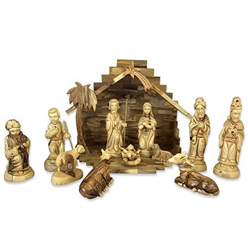 Olive Wood Nativity Set, Deluxe Nativity Scene from Bethlehem, Hand Carved