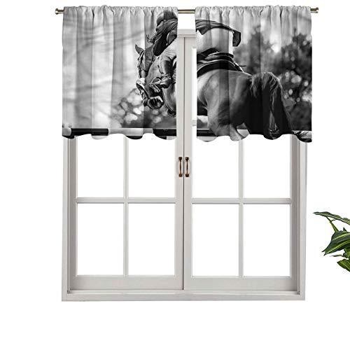 Hiiiman - Cortina para ventana (36 x 45,7 cm), diseño de caballo de carreras