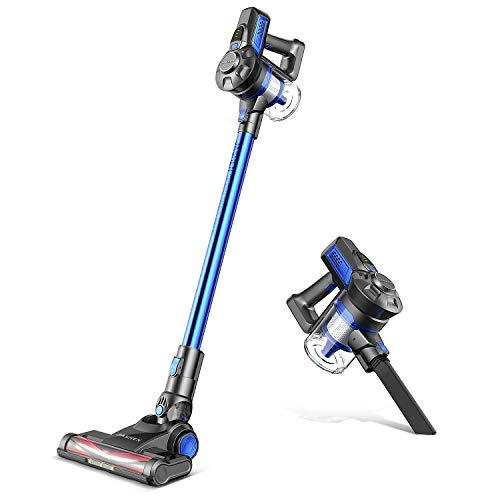 JASHEN Cordless Stick Vacuum, Powerful Stick Vacuum Cleaner Lightweight Handheld Vacuum with Rechargeable Battery and LED Brush for Hard Floor Carpet Pet Hair Car (Blue)