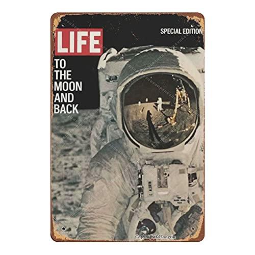 Time Life to The Moon Back Astronaut Magazine Cover 1969 Targa in Metallo Vintage Targa in Metallo retrò Poster Art Decorazione da Parete Bar Cafe Man Cave Home 8 × 12 Pollici