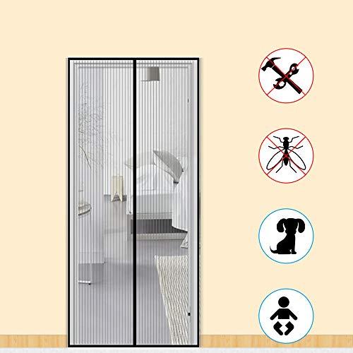 Zalava Fliegengitter Tür Fliegengitter Balkontür insektenschutz tür für Tür Balkontür Wohnzimmer Terrassentür 100x210 cm/110x220 cm /120x240cm/160x230cm, Klebmontage ohne Bohren (90x200cm, Schwarz)