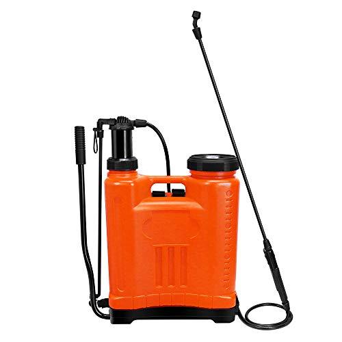 backpack weed sprayers Ayaya Backpack Sprayer Knapsack Manual Pump Pressure Sprayer for Garden Lawn Home Cleaning (5 Gallon/20L-Orange)