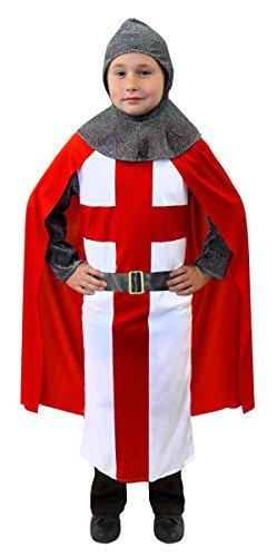Disfraz de caballero cruzado medieval para niños, túnica de San George + capa roja + cabeza + cinturón + corazón de león rey Arthur – disfraz de caballero infantil (9-11 años)