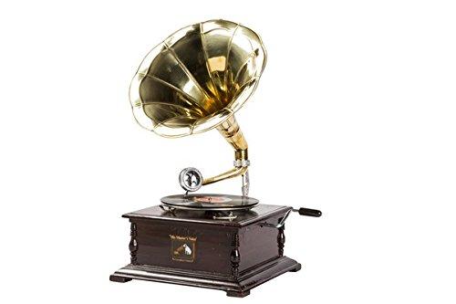 His Master's Voice Grammophon mit Messing-Trompete, Abspielgerät, quadratisch