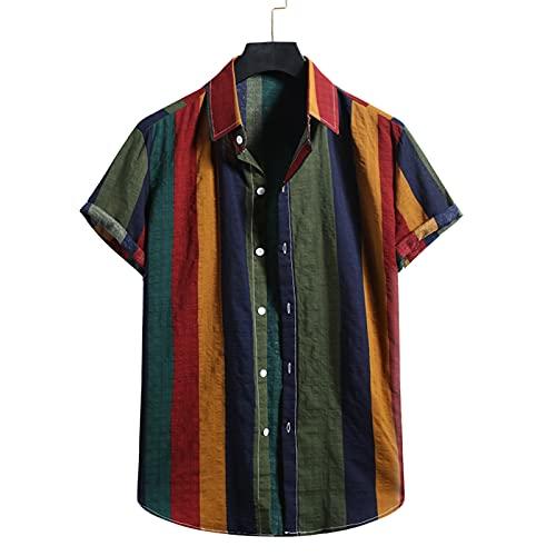 SSBZYES Camisas para Hombres Tops De Verano para Hombres Camisas a Rayas Camisas De Playa para Hombres Camisas Informales De Manga Corta con Rayas De Colores Sueltos para Hombres