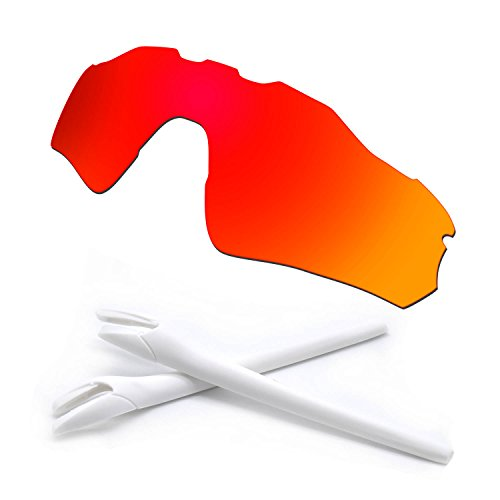 HKUCO Red Polarized Replacement Lenses and White Earsocks Rubber Kit For Oakley Radar EV Path Sunglasses