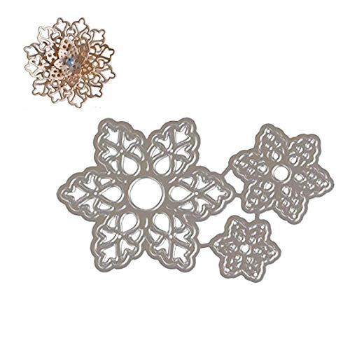 1 Juego de corte de troqueles de corte metálico de la Navidad en relieve Dies molde de los dados plantilla de metal creativo regalos del arte de DIY (plata Flores)