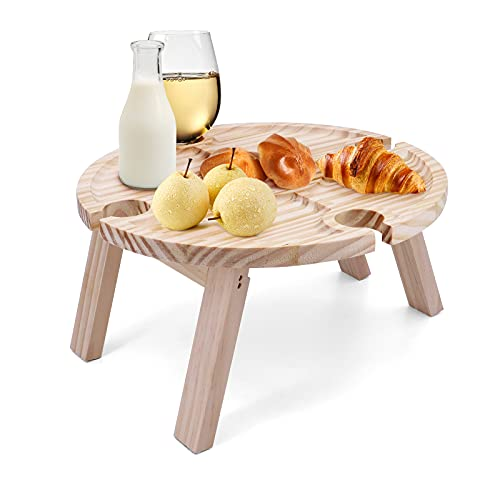 Seahelms Tavolo da picnic pieghevole in legno con supporto in vetro, scrivania Ollapsible per...
