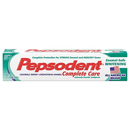 Pepsodent Complete Care Enamel-Safe Whitening Anticavity Fluoride Toothpaste Smooth Mint Flavor - 5.5 oz, Pack of 4