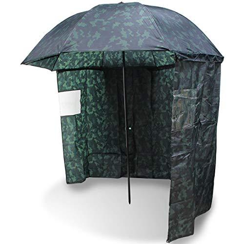 "NGT Carp Fishing 45"" Camo Umbrella Brolly System + Zip on Side Sheet & Tilt Function"