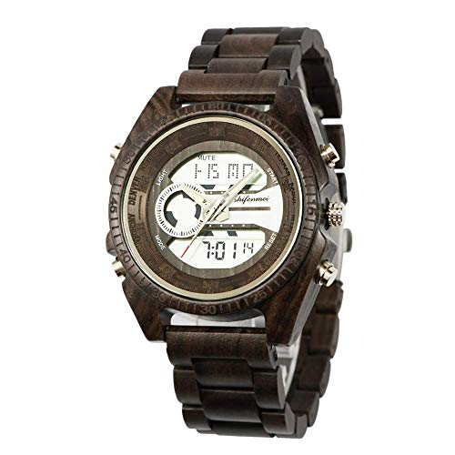 Shifenmei Herren Digital Holzuhr Japanisches Quarzwerk Analog Armbanduhr S2139 Modern Classic Design Kollektion Geschenk mit Multi Funktion inkl. LED-Licht, Kalender, Wecker, Stoppuhr