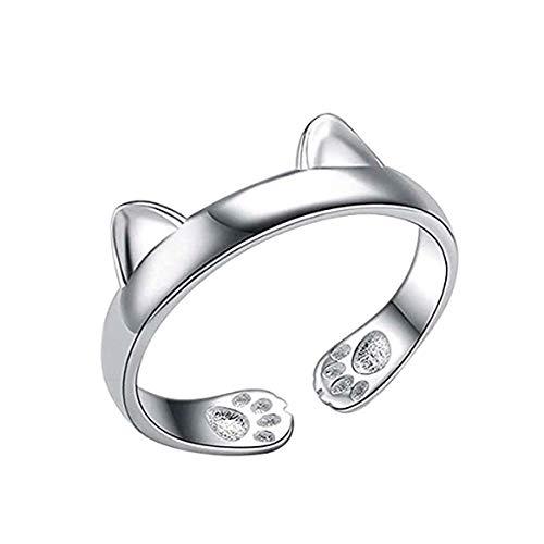 Unbekannt Katzen Design Damen Ring Katzenohren Pfoten Katzenring Silber Mode Schmuck Offen