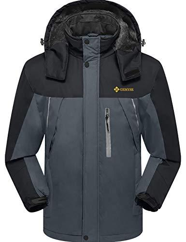 GEMYSE Chaqueta de esquí Impermeable de montaña para Hombre Abrigo de Invierno al Aire Libre de Lana a Prueba de Viento con Capucha (Neutro Gris Negro,L)