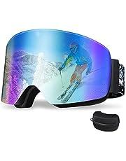 【2021最新柱面レンズ】スキーゴーグル 柱面 180°広視野 メガネ対応 曇り止め UV400 紫外線100%カット 防風防雪防塵 登山/スノボ/バイク/スポーツに全面適用