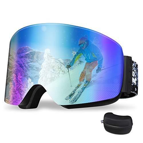 REDSTORM Gafas de esquí en versión 2021, gafas de esquí OTG, diseño panorámico de 180 °, gafas de esquí con luz antiniebla y anti-UV para esquí, escalada, ciclismo, deportes de mar