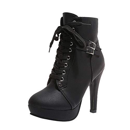 ZARLLE_Botas Zapatos Mujer Mujer Botines de Mujer Botines Cortos Botas De Plataforma con Cordones De Cuero De Cabeza Redonda De Mujer De Moda Botas De TacóN Alto Botines Mujer Negros