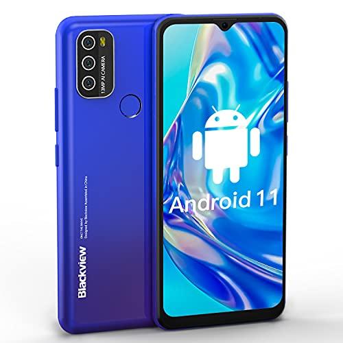 Blackview A70 Smartphone Libre,Android 11 Teléfono Móvil,32 GB ROM + 3 GB RAM Octa-Core,Batería 5380mAh,6.517' HD+,Cámara Triple 13MP,Telefonos Moviles Baratos,4G Dual SIM,Face ID,Huella Dactilar,GPS