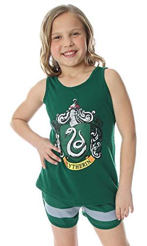 Las niñas Grandes de Harry Potter Hogwarts House Crest Espalda Cruzada Depósito y Shorts Pajama Salón Slytherin (7/8)