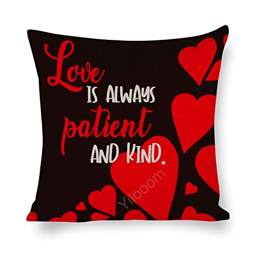 Yilooom 12 X 12 Inch Cotton Linen Square Throw Pillow Cases Cushion Covers, Bed Sofa Couch Car Home Decor, Happy Valentines Day Love Is Always Patient And Kind