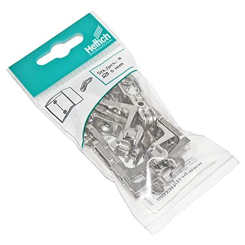 HKB ® 8 Stück Rückwandverbinder RV, für Rückwanddicke bis 5 mm, Druckguss vernickelt, mit Schrauben, Qualitätsprodukt von Hersteller Hettich, Artikelnr. 062445