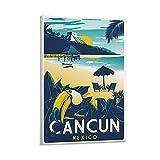 GNKIO Vintage Travel Poster Cancun Mexico Poster Dekorative