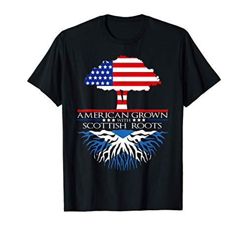 Scottish Roots American Grown Tree Flag USA Scotland T-Shirt
