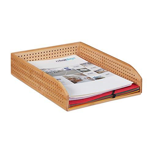 Relaxdays Dokumentenablage Bambus, perforiert, stapelbar, A4, Schreibtischablage, Büro, HBT: ca 7 x 25 x 33, natürlich Bandeja para Cartas, Perforada, 7 x 25 x 33 cm, Marrón, Bambú
