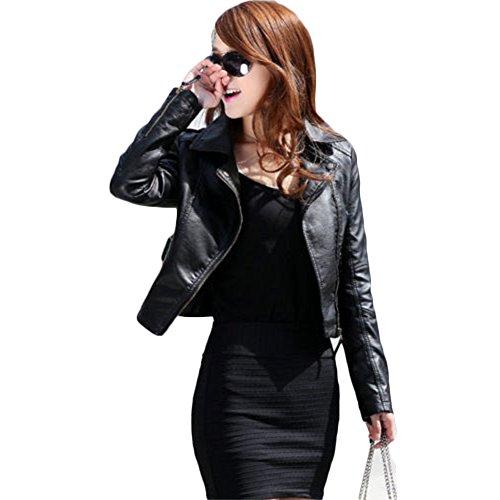 Tidecc Women Leather Jackets Slim Fit Lapel Zip Up Short Biker Jackets PU Blazers (Tag XL/UK 12) Black